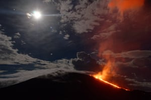Réunion island, Indian Ocean The Piton de la Fournaise (Peak of the Furnace) flares and seeps molten lava. It is currently one of the most active volcanoes in the world.