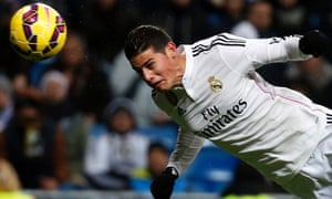 Real Madrid's James Rodríguez scores in the win over Sevilla.