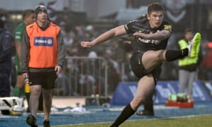 Owen Farrell, seen here kicking Saracens to victory against London Irish, are proponents of the belief that data gives an edge in rugby.