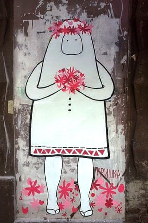 The 'Ghost people of Savamala' by Tijana Tripkovic and Barbara Dimic, are a series of street art pictures telling the story of the area.