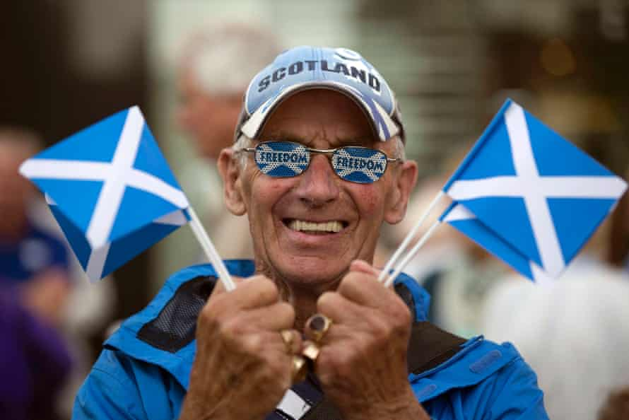 A yes campaign rally in Perth, Scotland, ahead of the Scottish independence referendum in September 2014.