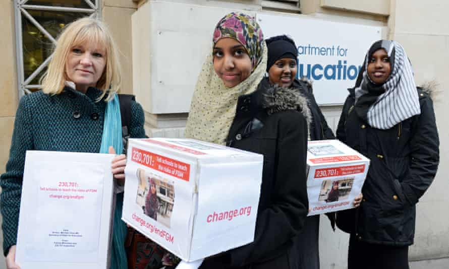 Fahma Mohamed and fellow campaigners deliver a petition to the UK government last year.