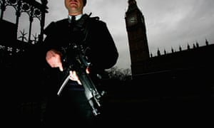 Police stand guard in Westminster