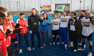 Tottenham coach Steffen Freund with members of the Proud Lilywhites and Gay Gooners LGBT supporters groups