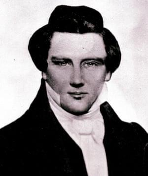 This image of Mormon prophet Joseph Smith Jr, a copy of a daguerreotype made circa 1843-1844.
