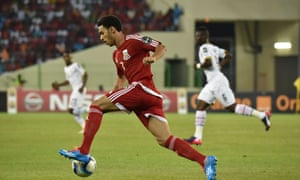 Ruben Belima controls the ball as Equatorial Guinea look for a way back into the game.
