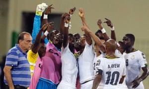 Ghana's Jordan Ayew celebrates his goal with his team-mates.