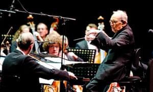 Ennio Morricone conducting at the O2 Arena.