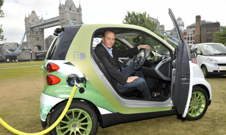 Quentin Wilson in a Smart electric car in London.