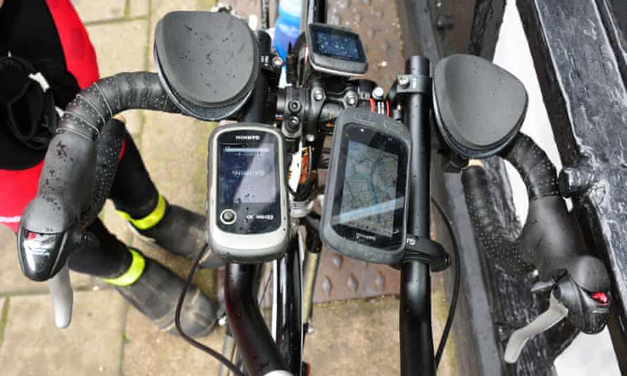 The pedometer/speed devices attached to Abraham's handlebars