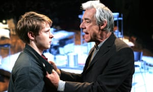 Sam Barnett (Carl) and Roger Lloyd Pack (Ash) in the revival of Dealer's Choice at Menier Chocolate Factory in London.