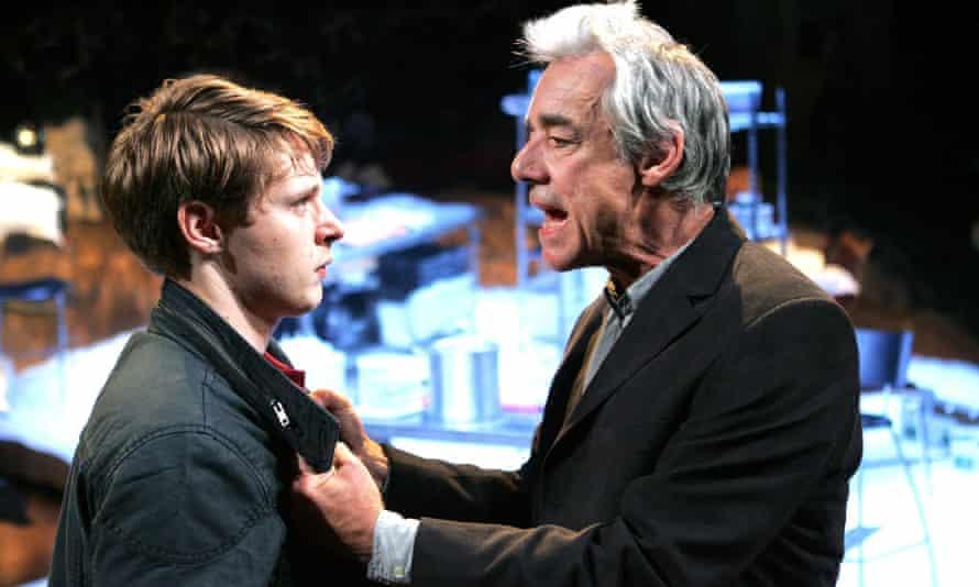 Sam Barnett (Carl) and Roger Lloyd Pack (Ash) in the revival of Dealer's Choice at Menier Chocolate Factory in London.