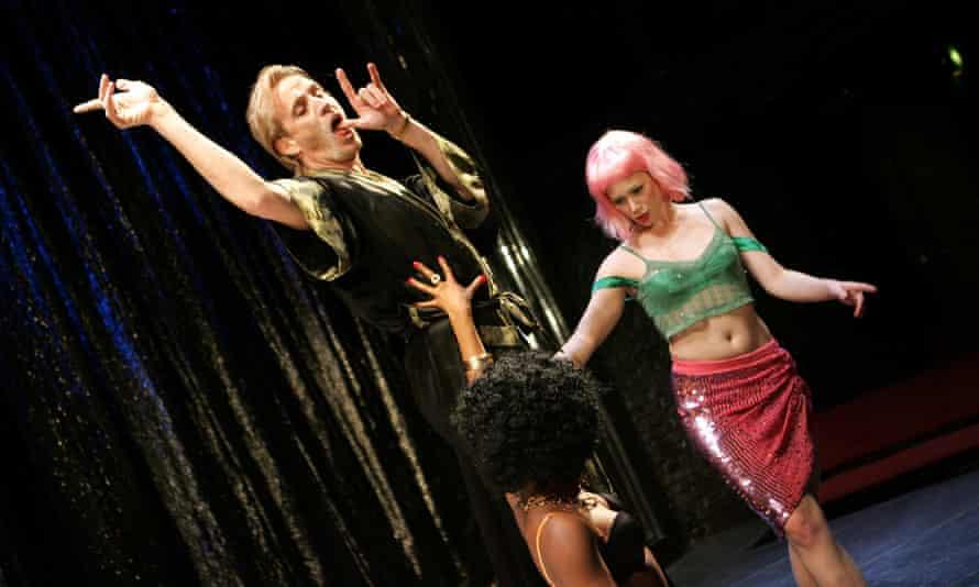 Seroca Davis (Lottie), Rhys Ifans (Don Juan) and  Jessica Brooks (Dahla)  in Patrick Marber's Don Juan in Soho at the Donmar.