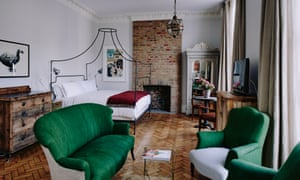 One of the uniquely styled bedrooms at Artist Residence in Pimlico, London