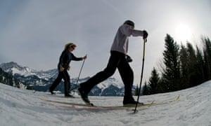 Skiiers in Villars, Switzerland