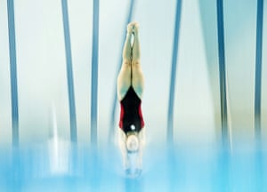Scarborough, Ontario Roseline Filion dives from the platform during practice for the Winter National Canadian Diving Championships