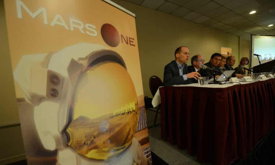Mars One CEO Bas Lansdorp (L) holds a press conference to announce the launch of astronaut selection for a Mars space mission project, in New York, April 22, 2013. Mars One is a non-profit organization that aims to establish a permanent human settlement on Mars in 2023 through the integration of existing, readily available technology that can be purchased from the global private space industry.