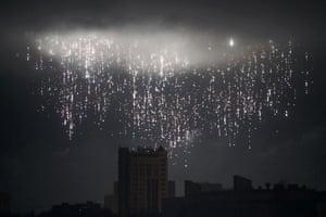 Donetsk, Ukraine A night shot of a shell bursting in the sky
