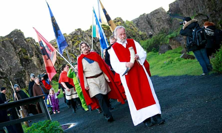 Hilmar Örn Hilmarsson leads a procession