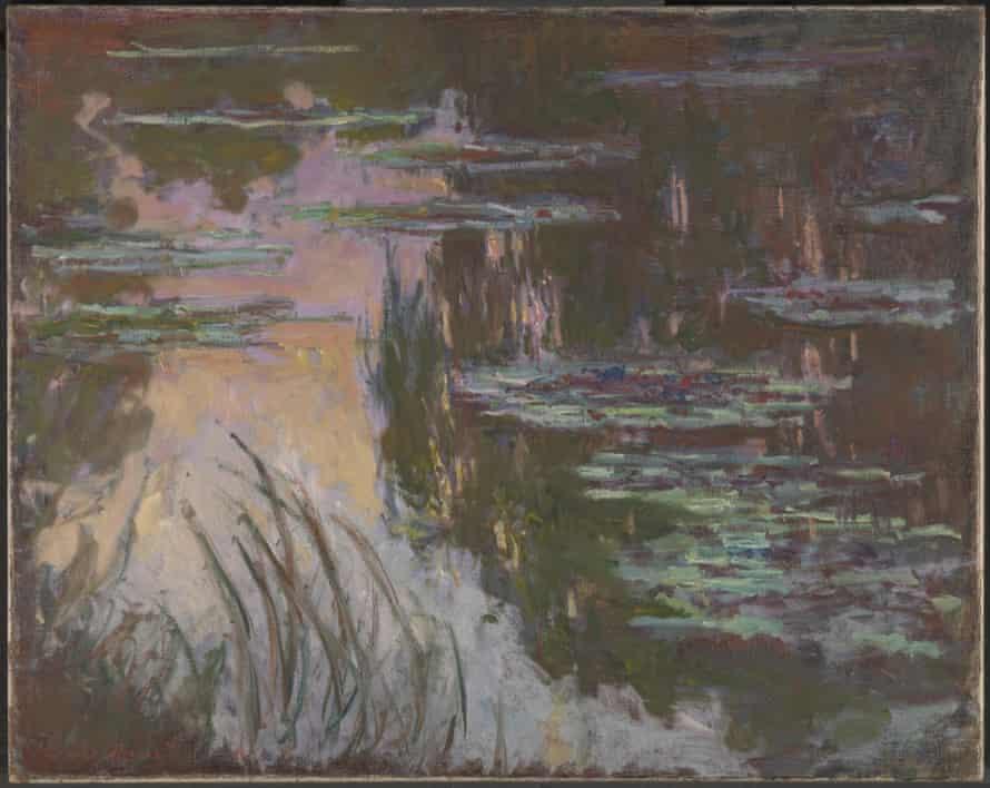 Water-Lilies, Setting Sun (c 1907) by Claude Monet.