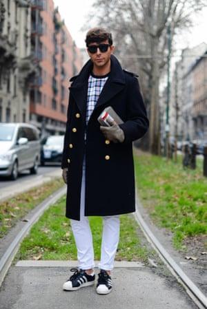 Matteo Evandro in Superstars at Milan Menswear Fashion Week