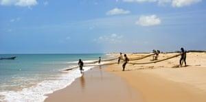 Fishermen bringing in the catch near Jaffna.