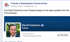 "Tory Facebook post: ""Like David Cameron's new Facebook page for the latest updates from the Prime Minister."""