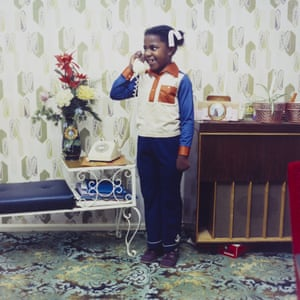 Untitled [A young girl speaking on her parents' telephone in South London], 1973