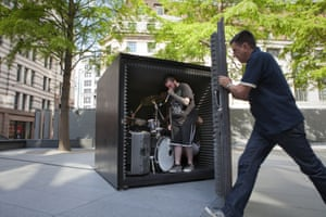 The metal band Unfathomable Ruination are locked in a soundproof box in London to play until the air runs out: João Onofre's called the piece Box Sized DIE.