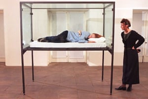 Tilda Swinton sleeps in a glass box at London's Serpentine Gallery in 1995 as part of Cornelia Parker's The Maybe.