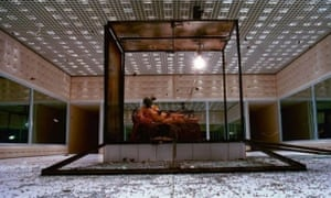 glass box Michelle Olley at Alexander McQueen show 2001