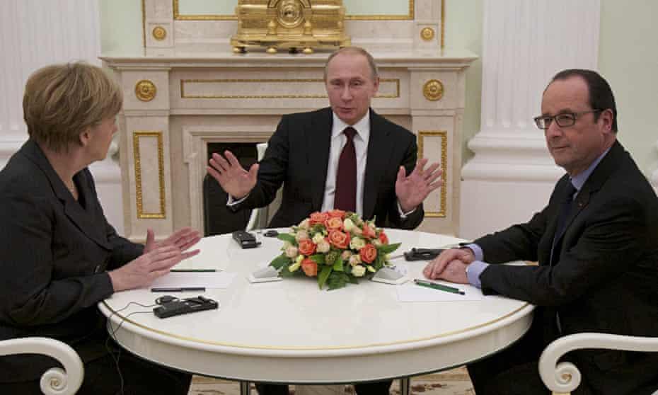 Angela Merkel, Vladimir Putin and Francois Hollande