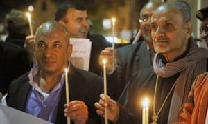 A vigil for the murdered pilot in Bethlehem.