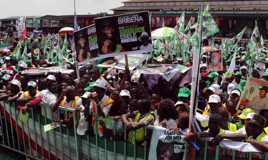 Supporters at a rally for president Goodluck Jonathan in Yenagoa.