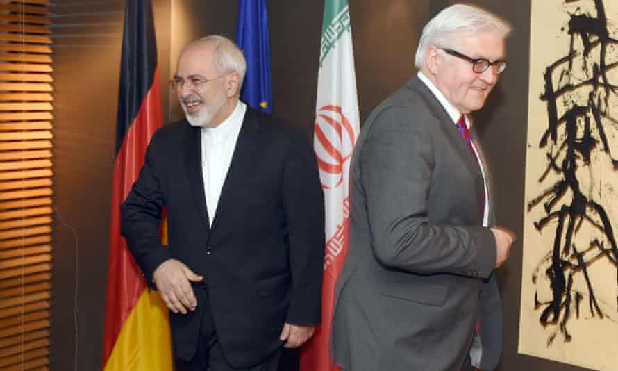 German Foreign Minister Frank-Walter Steinmeier meets with his Iranian counterpart Mohammad Javad Zarif for bilateral talks during the Munich Security Conference (MSC) in Munich, on February 6, 2015.