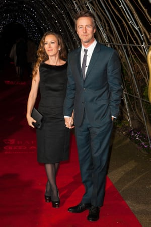 Edward Norton and his wife Shauna Robertson. Norton has been nominated for Supporting Actor for his performance in Birdman