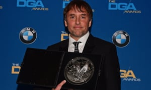 Richard Linklater at the DGAs with his nomination plaque.