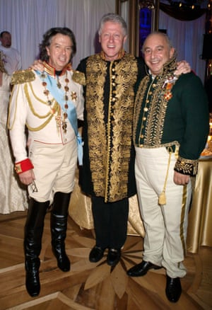 (from left) Richard Caring, Bill Clinton and Phillip Green at Caring's charity party in St Petersburg in 2005.
