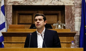 Greece prime minister Alexis Tsipras delivering his first speech at the parliamentary session of the
