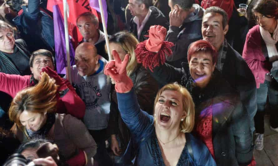 Leftwing Syriza voters celebrate victory