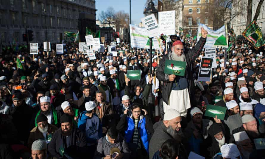 Thousands of Muslims gathered for a demonstration in front of Downing Street, condemning the cartoon