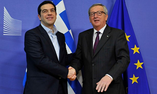 BELGreece's Alexis Tsipras meets Jean-Claude Juncker, the European commission president