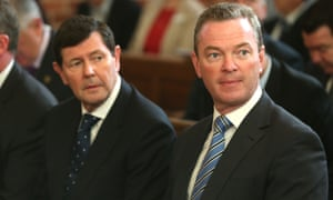 Christopher Pyne with Defence Minister Kevin Andrews at a special Ecumenical Service before the start of the Parliamentary year this morning at Canberra Baptist church in Kingston, Monday  9th February 2015.