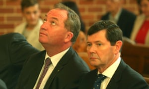 Agriculture Minister Barnaby Joyce and Defence Minister Kevin Andrews at a special Ecumenical Service before the start of the Parliamentary year this morning at Canberra Baptist church in Kingston, Monday  9th February 2015.