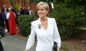 Deputy PM Julie Bishop leaves a special Ecumenical Service before the start of the Parliamentary year this morning at Canberra Baptist church in Kingston, Monday  9th February 2015.