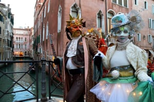 Revellers can hire or buy costumes from shops around the city, where there are reportedly more mask-sellers than butchers