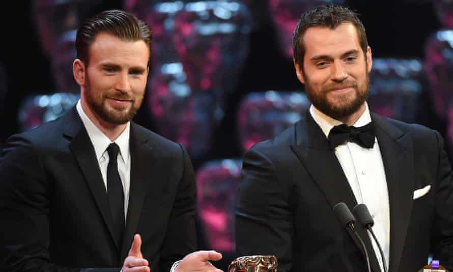 Two beards …Chris Evans and Henry Cavill at the Baftas.