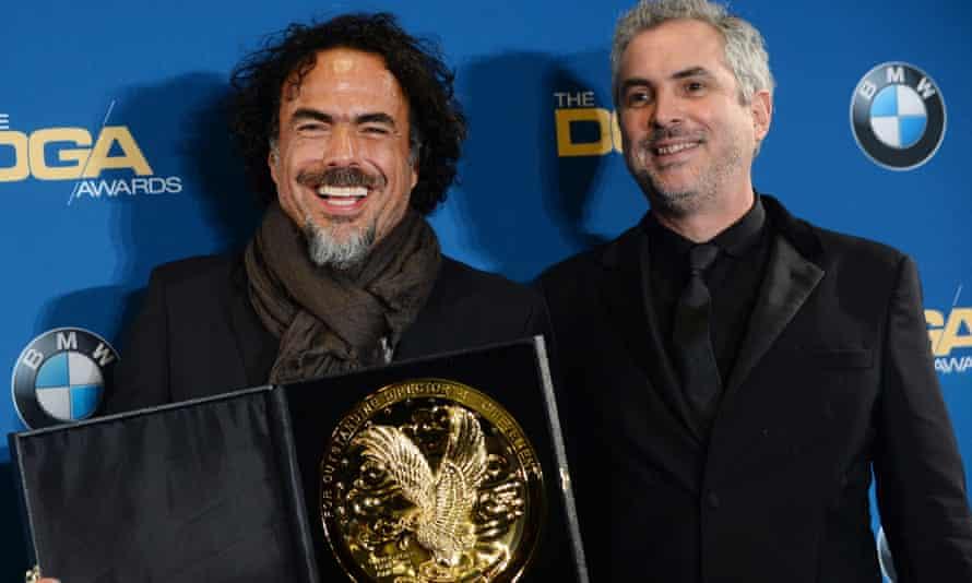 Inarritu with last year's winner (of both DGA and Oscar), Alfonso Cuaron.
