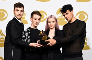 Jack Patterson, Luke Patterson, Grace Chatto, and Milan Neil Amin-Smith of UK outfit Clean Bandit, pick up best dance recording for Rather Be.
