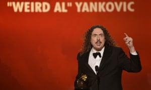 """Previous-Grammy award winning satirist """"Weird Al"""" Yankovic picks up best comedy album."""